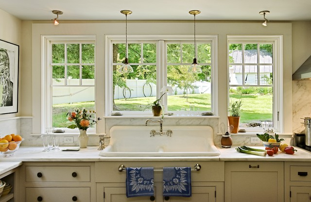 Rohl Sinks Kitchen Traditional with Glass Pendants Marble Backsplash