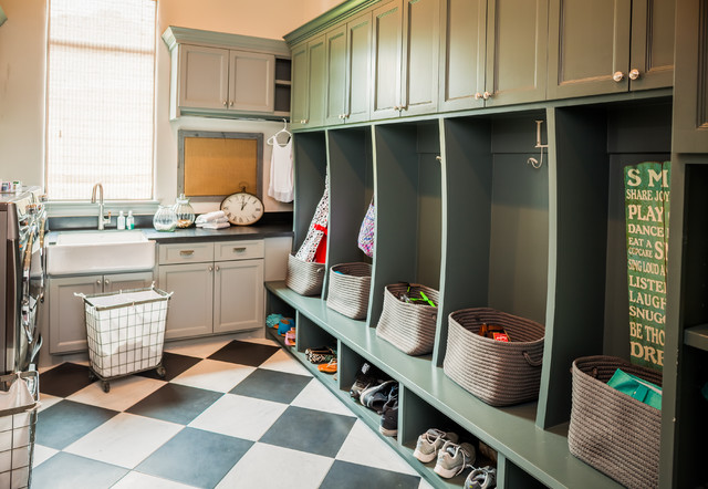 Rolling Laundry Cart Room Rustic With Checker Floor Farmhouse Sink