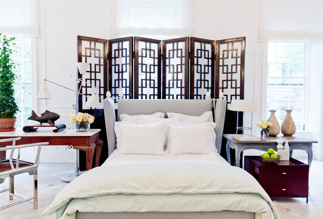 room divider screens Bedroom Eclectic with bed desk folding screen