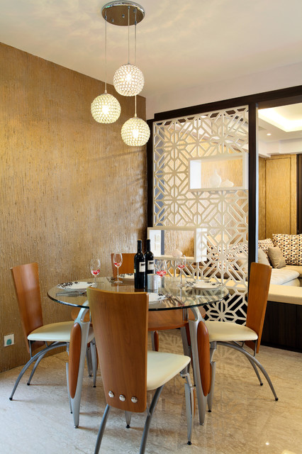 Room Divider Screens Dining Room Eclectic with Ball Pendant Lights Contemporary