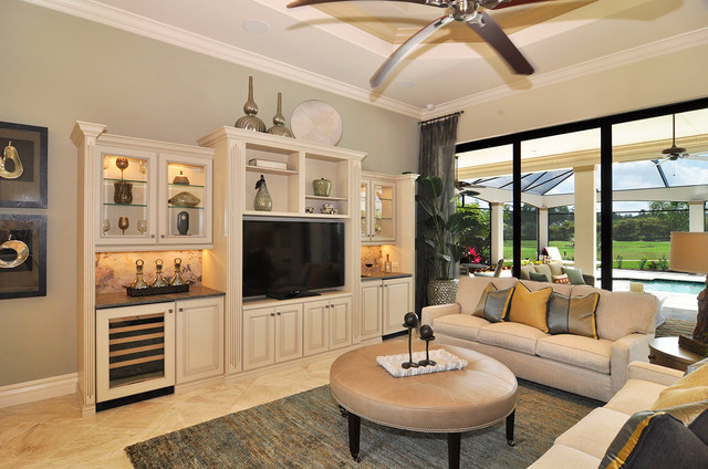 round leather ottoman Living Room Traditional with beige backsplash beige cabinets