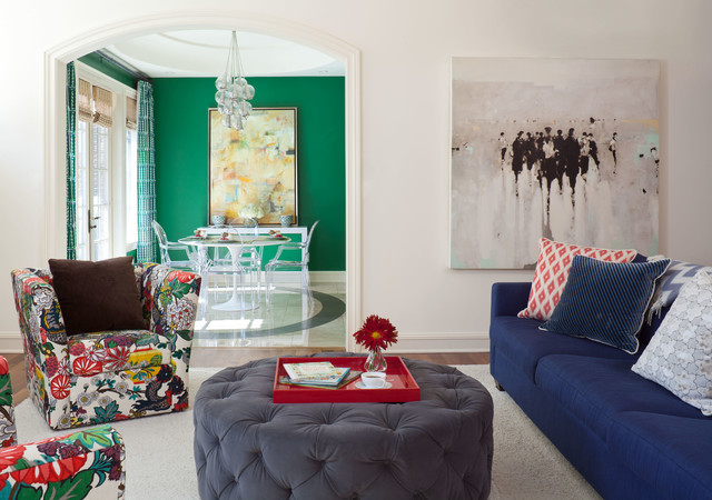 Round Tufted Ottoman Living Room Eclectic with Arched Doorway Blue Sofa