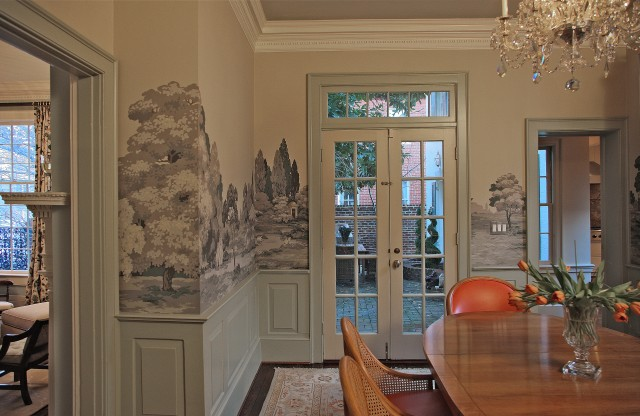 runtal radiators Dining Room Eclectic with Americana antique scenic wallpaper