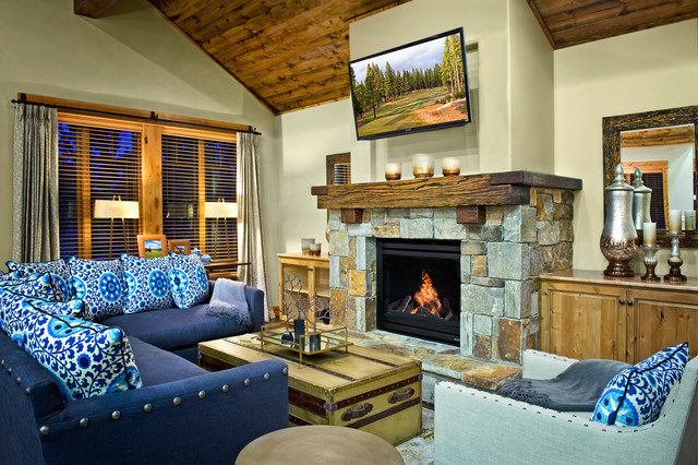Rustic Fireplace Mantels Family Room Contemporary with Beige Walls Blue Pillows