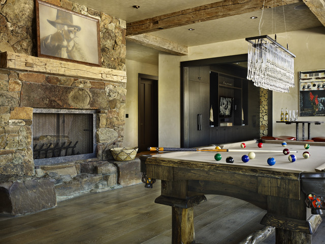 Rustic Fireplace Mantels Family Room Rustic with Chandelier Fireplace Pool Table