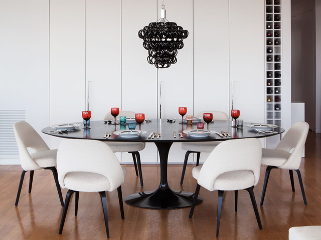 Saarinen Table Dining Room Contemporary with Black Glass Chandelier Cabinets