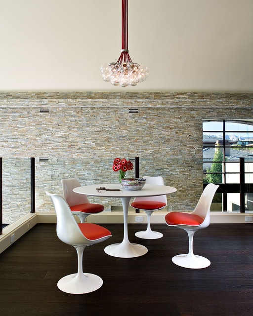 Saarinen Table Dining Room Contemporary with Bowl Chairs Chandelier Dark