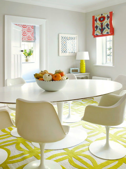saarinen table Dining Room Contemporary with colorful roman shade gray