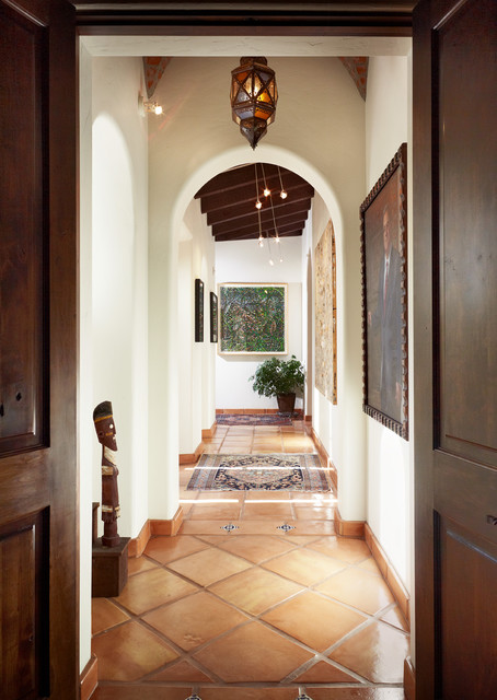 Saltillo Tile Hall Mediterranean with Archway Contrast Doors Gallery