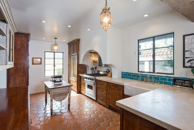 Saltillo Tile Kitchen Mediterranean with Andy Berman Blue Subway