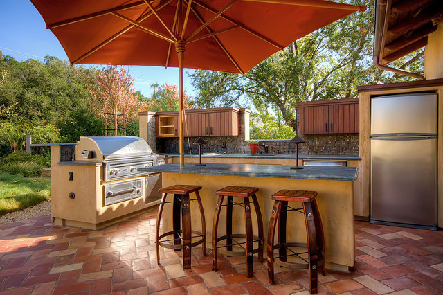 saltillo tile Patio Contemporary with barbecue built in storage