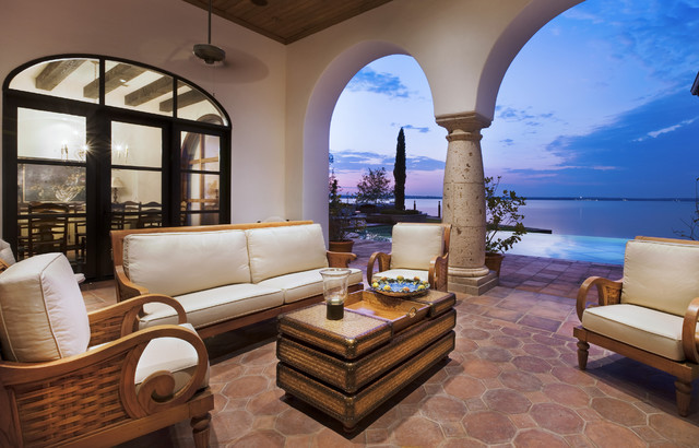 Saltillo Tile Patio Mediterranean with Arch Ceiling Fan Column