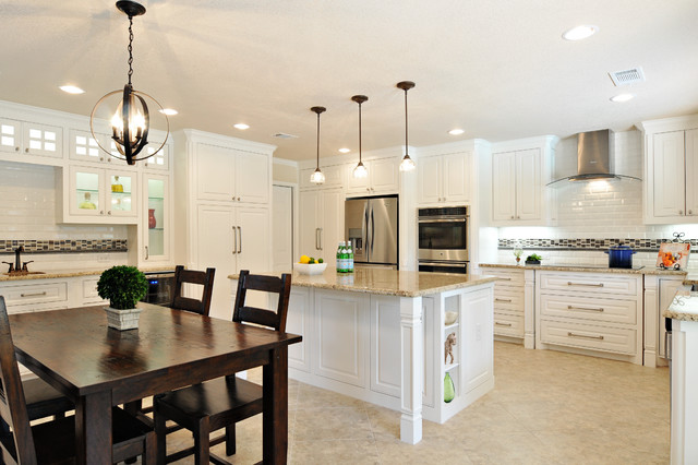 sandlin homes Kitchen Transitional with beige tile floor cooktop