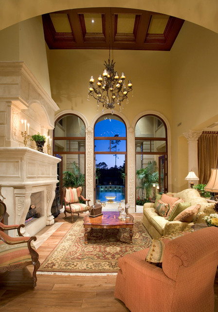 Sater design pool mediterranean with balcony circular for Mediterranean living room design