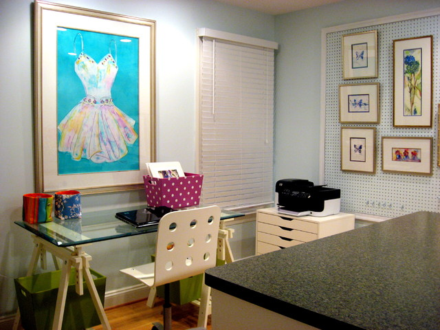 sawhorse desk Home Office Contemporary with Art studio Benjamin Moore