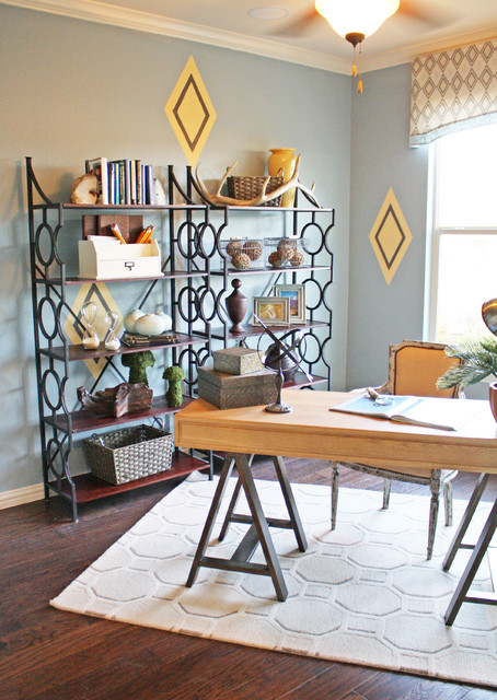 Sawhorse Desk Home Office Eclectic with Area Rug Blue And