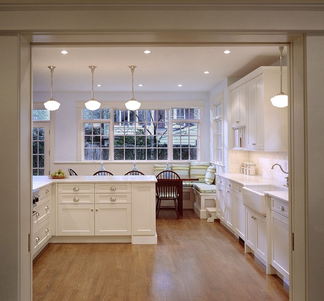 schoolhouse lighting Kitchen Traditional with apron sink banquette seating