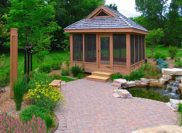 screened gazebo Garage And Shed Traditional with boulder landscape brick patio
