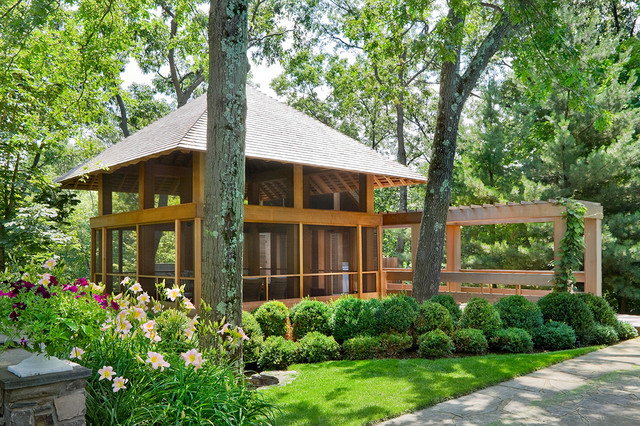 Screened Gazebo Landscape Transitional with Cedar Siding Day Lilies