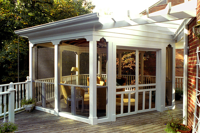 Screened Gazebo Porch Traditional with Brick Wall Deck Enclosed