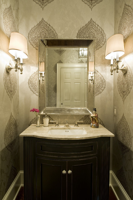 Seabrook Wallpaper Powder Room Traditional with Baseboards Bathroom Lighting Bathroom