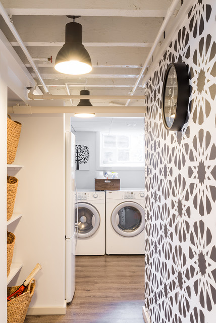 seagrass baskets Laundry Room Contemporary with Art basement black and