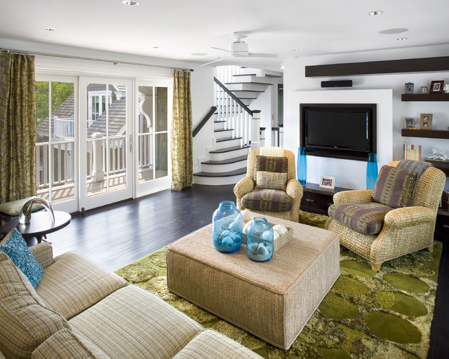 Seagrass Chairs Living Room Beach with Area Rug Ceiling Fan