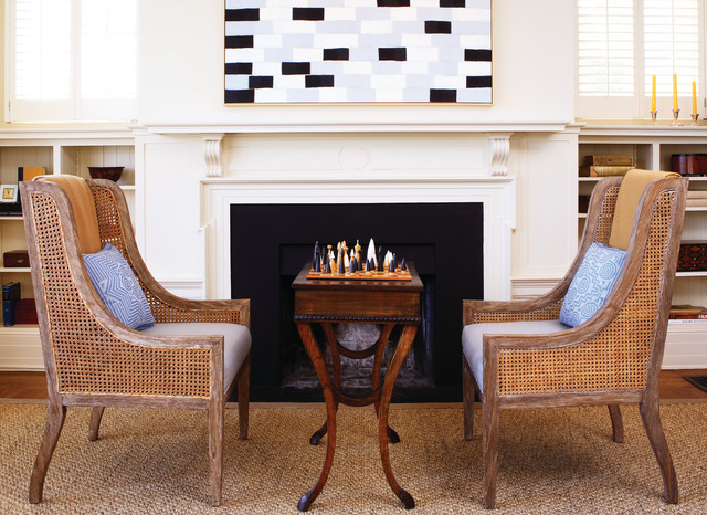 Seagrass Chairs Living Room Beach with Blue Bookshelves Built Ins