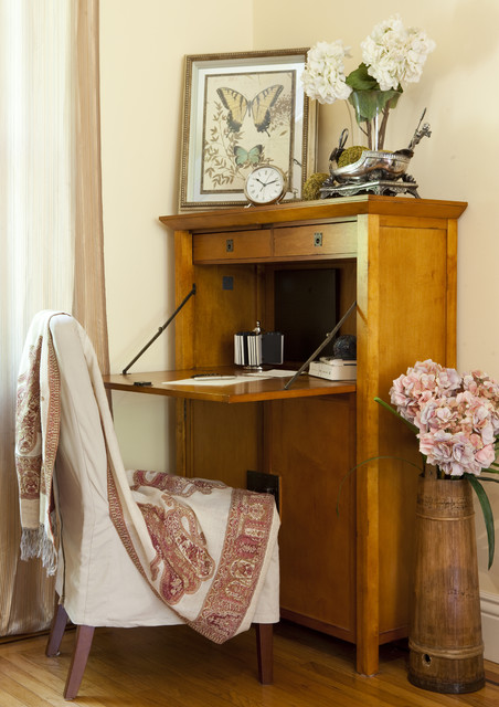 Secretary Desk with Hutch Home Office Eclectic with Abattant Art Chair Curtain