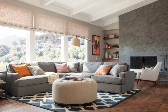 Sectional Couches Living Room Contemporary with Beige Ottoman Beige Roman