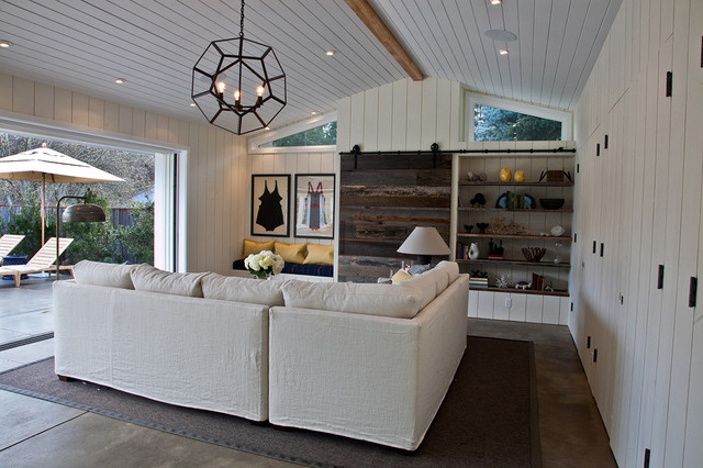 Sectional Slipcovers Family Room Contemporary with Barn Hinge Built in Closets