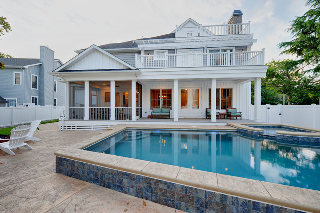 Semi Inground Pools Pool Traditional with Balcony Exterior Porch Spa