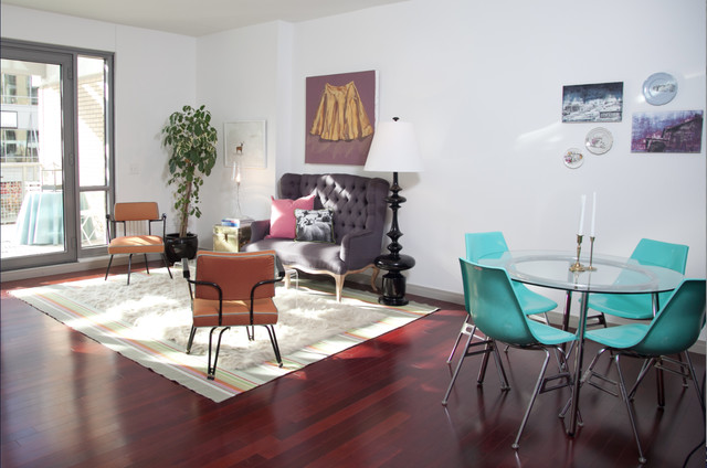 setee Living Room Midcentury with area rug art work
