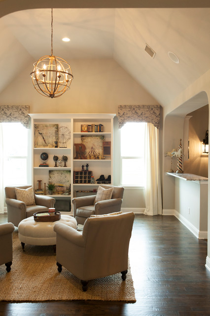 shaddock homes Family Room Traditional with beige armchair cathedral ceiling