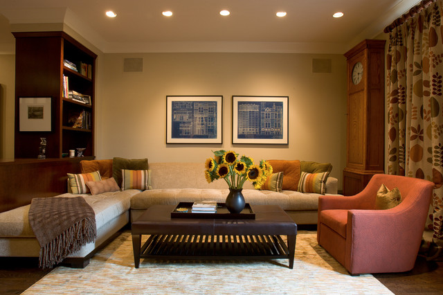 shaker beige Family Room Contemporary with area rug bookshelves ceiling