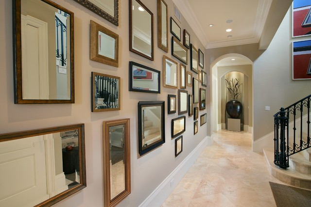 shaker beige Hall Eclectic with baseboards ceiling lighting crown