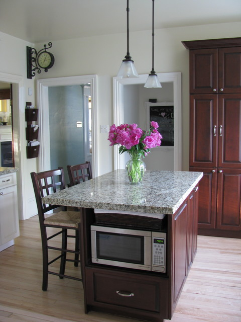 Shape Sorter Kitchen Traditional with Below Counter Microwave Dark