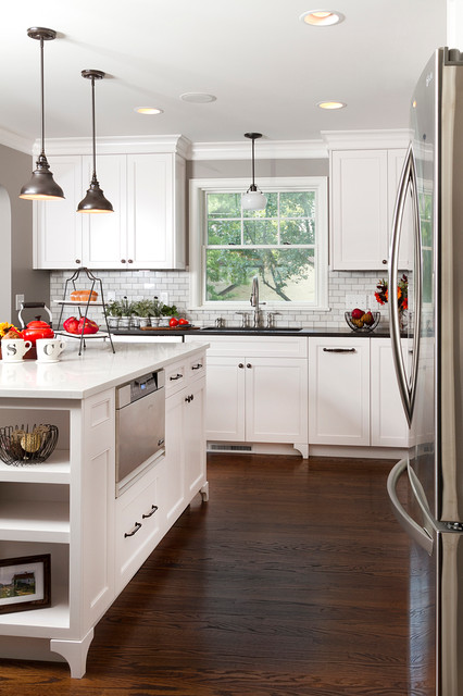 Sharp Drawer Microwave Kitchen Traditional with Dark Wood Floor Gray