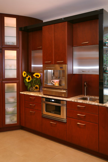 Sharp Microwave Drawer Kitchen Contemporary with Ceiling Lighting Cherry Wood