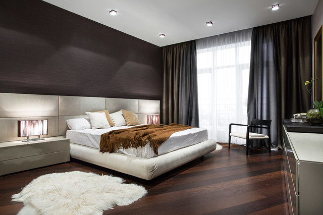 Sheepskin Blanket Bedroom Modern with Armchair Brown Throw Pillows