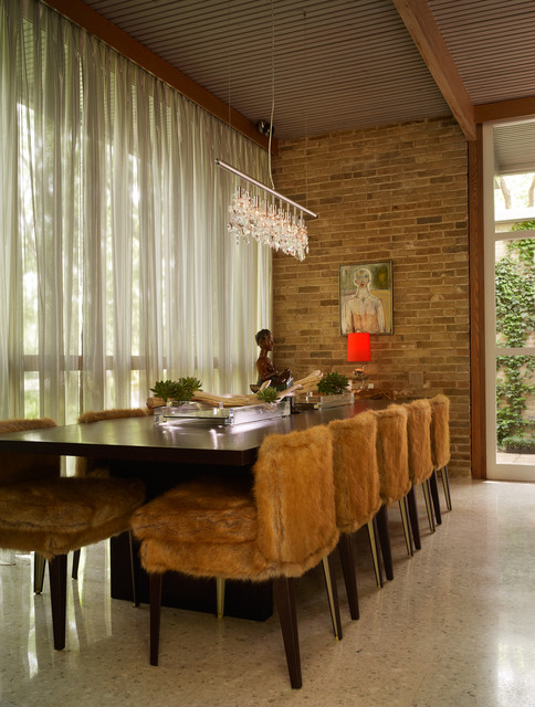 Sheer Curtain Panels Dining Room Midcentury with Aggregate Floor Artwork Brick