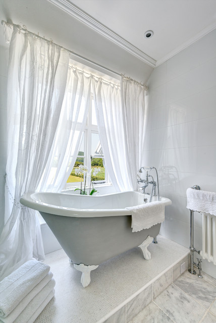 Sheer Drapes Bathroom Traditional with Bathroom Window Claw Foot Tub