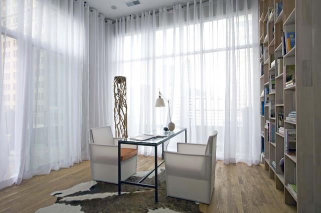 sheer drapes Home Office Contemporary with bookshelves cowhide rug desk