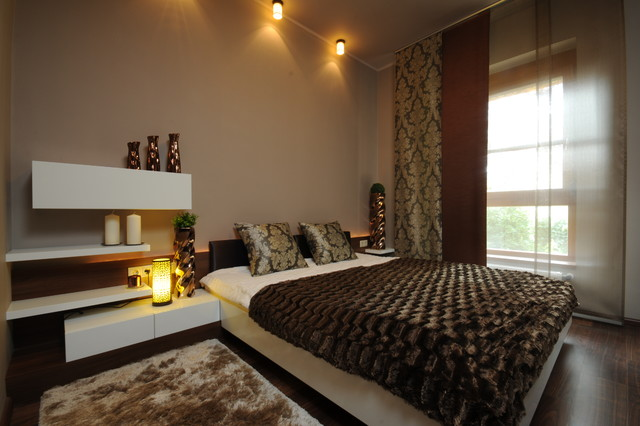 sheer window panels Bedroom Contemporary with brown ceiling lights curtain