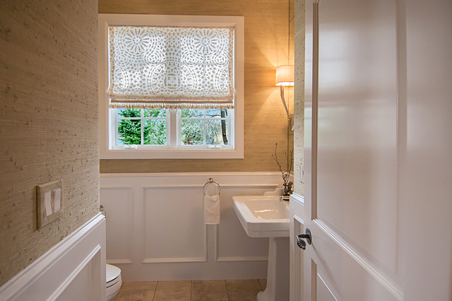 Sheer Window Panels Powder Room Traditional with Fixtures From Waterworks Fresh