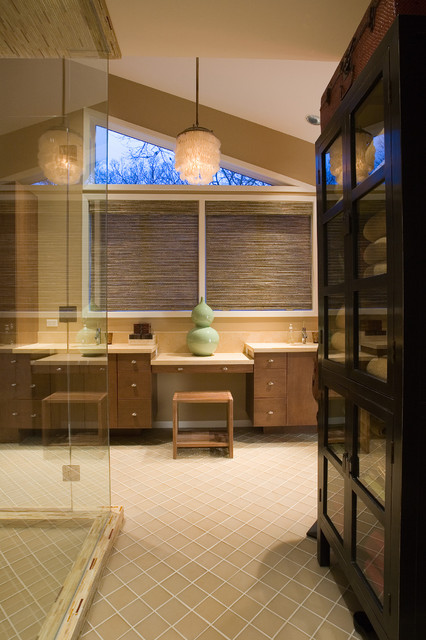 Shell Chandelier Bathroom Contemporary with Angled Ceiling Bathroom Storage