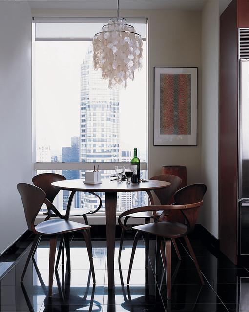 shell chandelier Dining Room Contemporary with black floor capiz shell
