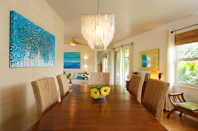 shell chandelier Dining Room Tropical with Bali Furniture bamboo blinds