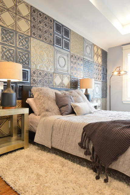 Sherwin Williams Duration Bedroom Eclectic with Beige Bedding Black Bed