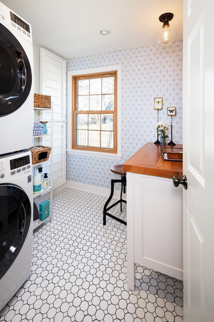 Sherwin Williams Duration Laundry Room Traditional with Circular Mosaic Laundry Space